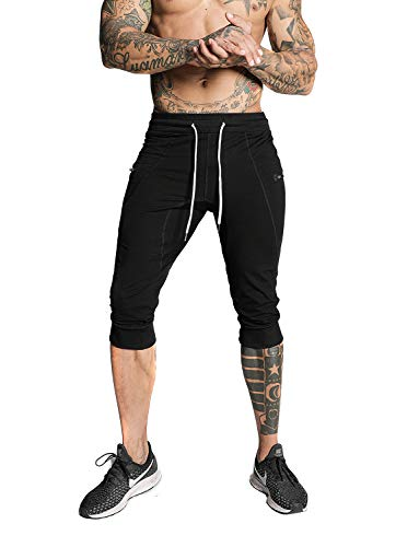 MAIKANONG Mens 3/4 Joggers Slim Fit Shorts Tapered Sweatpants for Gym Running Athletic Black