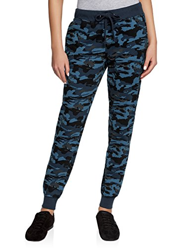 oodji Ultra Damen Sport-Hose mit Bindebändern, Blau, XXS