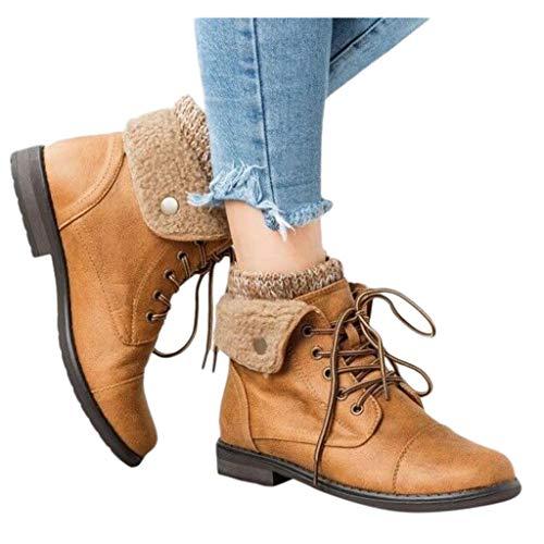 Smony – Martin Stiefel für Damen, Webpelz, Griffsohle, warm, Knöchelstiefel für den Winter, Größe 36-43 Gr. 35, khaki