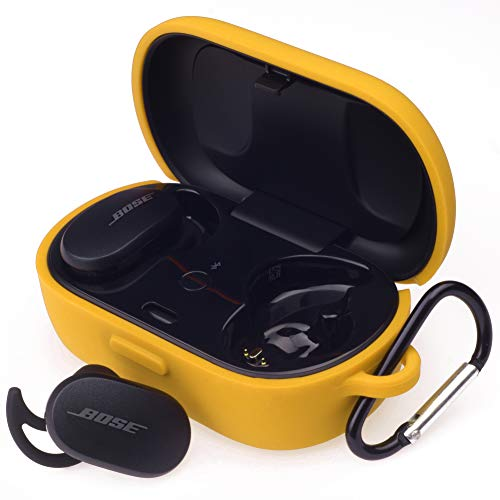 Hi Color Silicone Case for Bose QuietComfort Earbuds Case (Not Fit for Bose Sport Earbuds) Bose QuietComfort Noise Cancelling Case Cover Anti-Fall Earphone Case with Carabiner (Yellow)