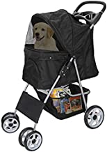 Foldable Pet Dog Stroller for Cats and Dog Four Wheels Carrier Strolling Cart with Weather Cover, Storage Basket + Cup Holder