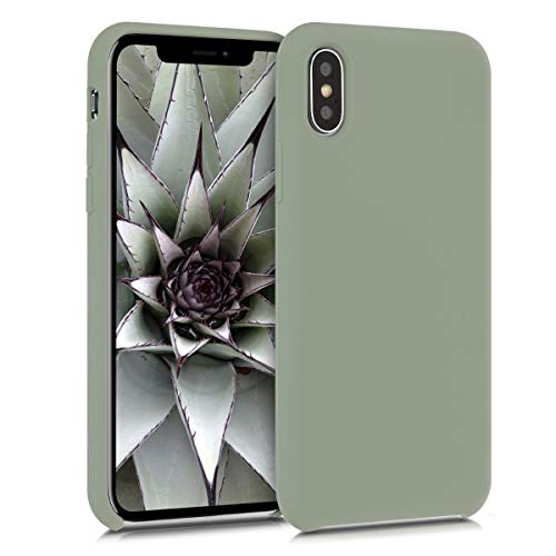 kwmobile Hülle kompatibel mit Apple iPhone X - Hülle Handyhülle gummiert - Handy Hülle in Graugrün