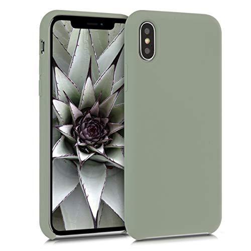 kwmobile Hülle kompatibel mit Apple iPhone X - Handyhülle gummiert - Handy Hülle in Graugrün