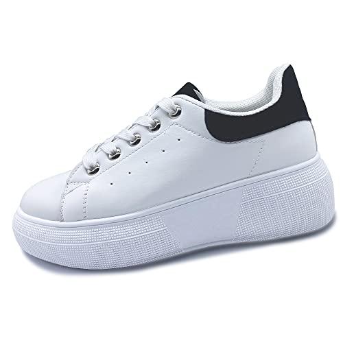 Mujer Zapatillas Informales Blancas Negro Zapatillas cómodas para Mujer Cordones Deportivos con cuña Zapatillas de Moda al Aire Libre 38