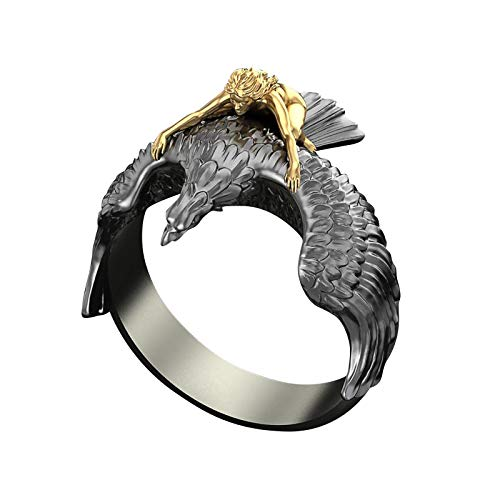 ZHX Bagues vintage sculptées en forme d'aigle - Pour femme - Pour fête, vacances, souvenir