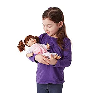 SWEET-SMELLING BABY DOLL: The Melissa & Doug Mine to Love Brianna 12-Inch Soft-Body Baby Doll features eyes that open and close and sweet baby cheeks, plus she can suck her thumb or pacifier. She comes with a removable two-piece outfit. GREAT SIZE FO...
