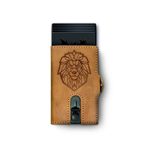Löwenfeuer Kartenetui mit RFID Schutz aus echtem Leder I mit Münzfach I für Damen und Herren I Geldbörse (Braun)