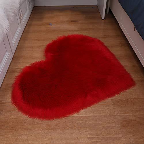 ZXXY Alfombra de Piel Artificial, Alfombra de Alfombra esponjosa en Forma de corazón en la Alfombra de Piel Artificial de la Oficina del Dormitorio en casa - Rojo Grande