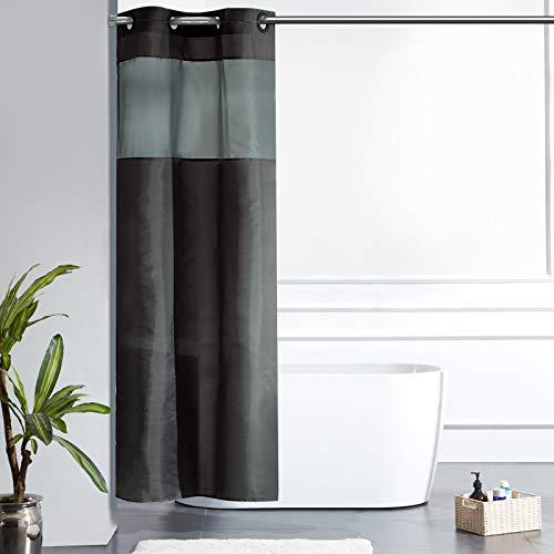 Furlinic Schmaler Duschvorhang für Eck Dusche Kleine Badewanne Badvorhang mit Gazefenster aus Stoff Schimmelresistent Wasserdicht Waschbar Dunkelgrau 90x180 mit Groß Ösen.