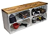 Juego de 2 cajas de fruta de madera y tablones de madera, zapatero, taburete, banco, botellero, banco de madera, estantería de 50 x 29 x 43 cm (largo x ancho x alto)