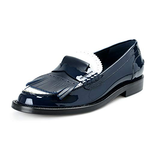 BURBERRY London Women's MEDMOORE Patent Leather Loafers Moccasins Shoes Sz US 8.5 IT 38.5 Dark Navy