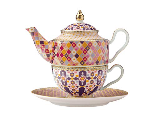 Maxwell & Williams Teas & C's Kasbah Tea For One Teiera e tazza Set con infusore in confezione regalo, porcellana, rosa, 380 ml