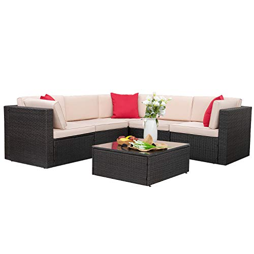 Homall 6 Pieces Patio Furniture Sets Outdoor Sectional Sofa All Weather PE Rattan Patio Conversation Set Manual Wicker Couch with Cushions and Glass Table (Beige)