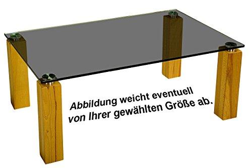 Dresden50173 Couchtisch mit einer 12mm starken Glasplatte. Stollen in 90x90mm Massivholz und hochwertiger Metallverbindung Parsolglas Kernbuche Größe: 70 x 70 cm Quadratisch Kernbuche Höhe: 46cm