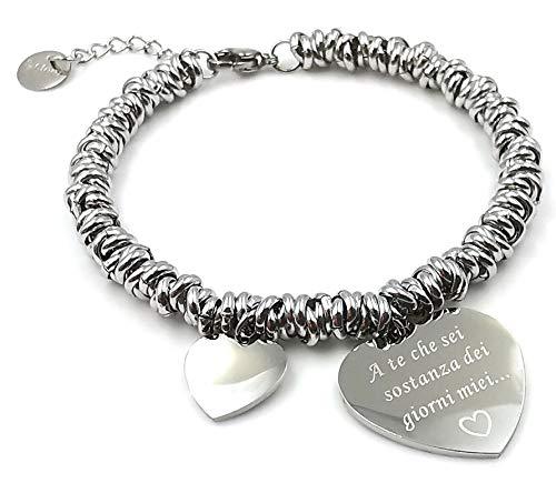 Silo Bijoux - Pulsera para mujer, amigas, amistad y amor trenzado de acero hipoalergénico con grabado láser - Caja de regalo