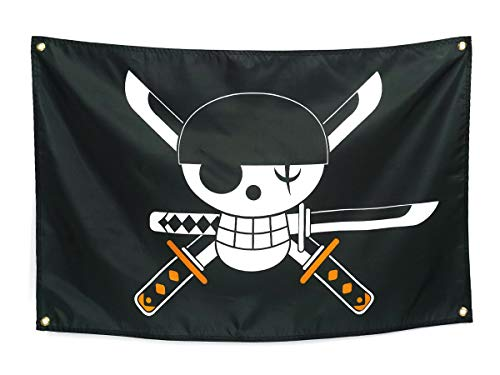COSAUG One Piece Flag with Lorenor Zorro's Jolly Roger 43x23inch
