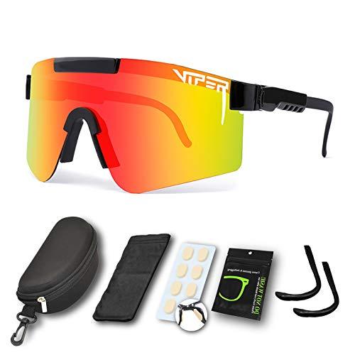 CWWHY Sport Sonnenbrille, Polarisierte Sonnenbrille, Winddichte Staubdichte Brille Für Den Außenbereich, UV400 Verspiegelte Linse, Für Frauen Und Männer Alle Arten Von Outdoor-Aktivitäten,C07