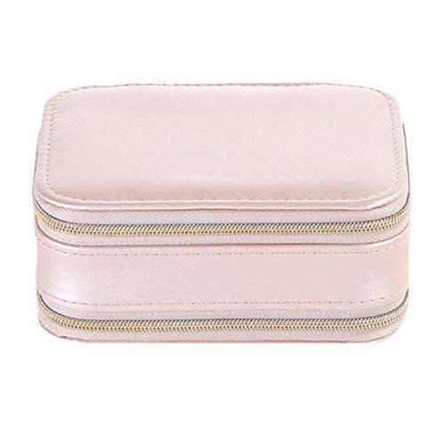 Joyerías de joyería caja de almacenamiento cosmética caja de almacenamiento de maquillaje organizador de embalaje de aretes multifunción anillo caja de cuero portátil rosa, color: azul (color: rosa)