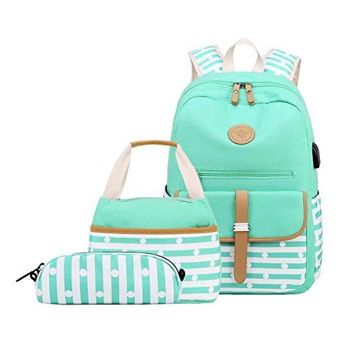 Neuleben 3 Set Schulrucksack + Kühltasche + Federmäppchen Mädchen Teenager Jungen Groß Rucksack Schulranzen mit USB Laptopfach Wasserabweisend (Grün)