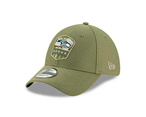 New Era Seattle Seahawks 39thirty Stretch Cap On Field 2019 Salute to Service Olive - M - L