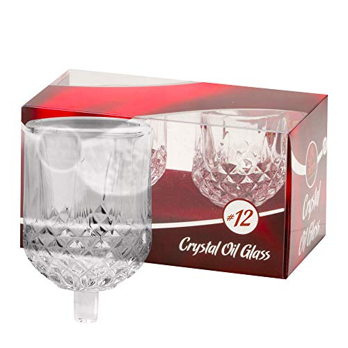 Ner Mitzvah Shabbos Candle Glass Oil Cups – Crystal Looking Elegant Holders for Oil for Shabbat and Hanukkah – 2 Pack - Durable Quality, Long-Lasting