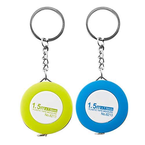 Lezed (2 stuks) automatisch intrekbare sleutelhanger meetlint kleine trekken snijlint/meetlint/meetlint/meetlint/meetlint 150 cm willekeurige kleur