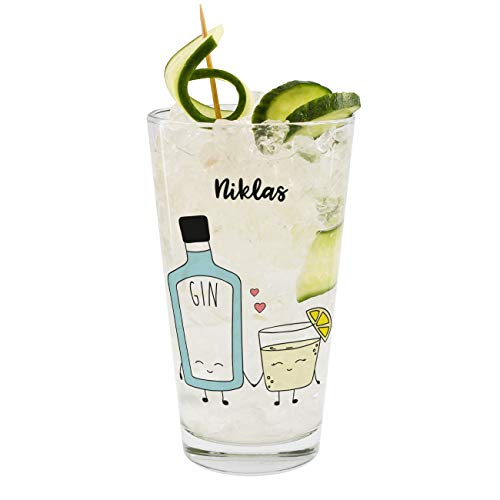Herz & Heim® Gin & Tonic Longdrink Glas mit Namen - You are the Gin to my Tonic