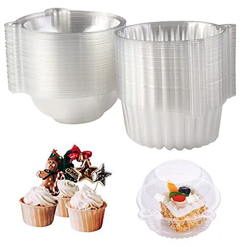 Surflyee 50Pz Scatola per Cupcake,Scatole per Torta,Confezionare dei Mini Tortini Monoporzione,Usate per Torte, Insalate,Adatte per Feste, Matrimoni, Negozi di Dolci