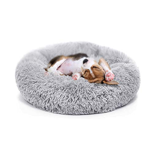 nononfish Puppy Bed for Small Medium Dog Soothing Dog Bed Calming, Anti-Anxiety Fluffy Deep Sleep Plush Bed with Bamboo Dog Cooling Mat Available