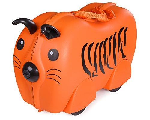 Ondis24 Kinderkoffer Hardcase Ziehkoffer Sitzkoffer Rutschkoffer Trolley (Tiger)