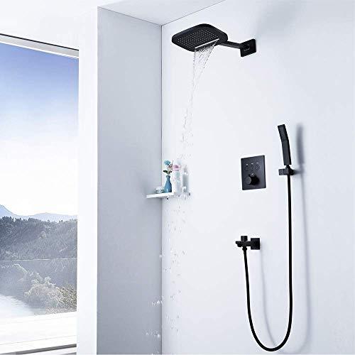 FYYONG Cuarto de baño moderno ducha de mano sistema oculto 3 Función de botones de cobre Negro Termostato Interruptor cuerpo en la pared grifo de la plaza de pulverización superior Pequeña cascada Duc