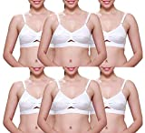 IPP Women's Cotton Non Padded Non-Wired Bra (Pack of 6) (IPP-WCCottonbra--P6-34_White_34)