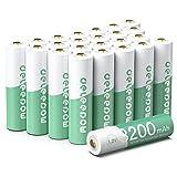 Deleepow 24 Count AA Rechargeable Batteries 3200mAh, High Capacity Green Grey