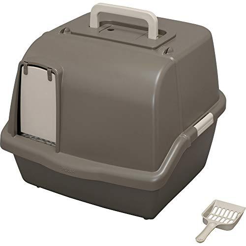 アイリスオーヤマ 猫用トイレ本体 散らかりにくいネコトイレ (スコップ付き フルカバー) ブラウン 大型