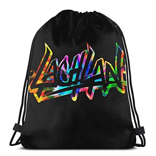 Lawenp Lachlan Power Bold Youtube Logo Mochila con cordón Cinch Poliéster a Granel Bolsas de Hilo Impermeables para Deportes Gimnasio Yoga Natación Viajes