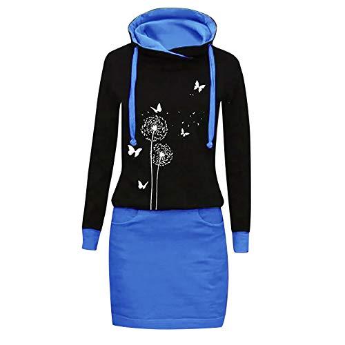 Xmiral Kapuzen-Kleid Farbblock Langarm Damen Lange Sweatshirt Beiläufig Fake Zwei Pullover Kleider(a-Blau,XXL)