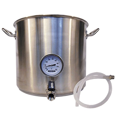 HomeBrewStuff Heavy Duty 10 Gallon Stainless Steel Kettle with Valve and Thermometer Includes SS Barb and Silicone Tubing