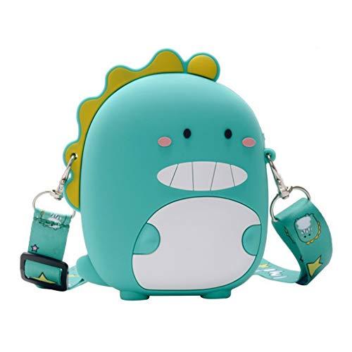 XINGYUE Bolso de hombro para niños y niñas, diseño de dinosaurio, de silicona, bolso de mensajero con cremallera, bolso de mensajero, bolso creativo, bolso de bandolera, bolso de mano