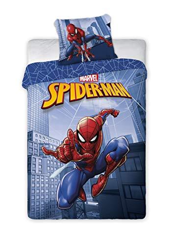 Faro Tekstylia Spiderman 046 - Juego de cama infantil (140 x 200 cm y 70 x 90 cm), diseño de...