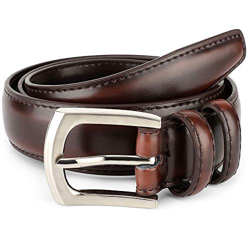 Men's Genuine Leather Dress Belt Classic Stitched Design 30mm 'ALL LEATHER' mahogany Size 36