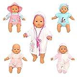 Miunana 5 Abiti Vestiti Tuta per 36 CM - 46 CM (14 Pollici - 18 Pollici) Baby Doll Bambola, American Girl Doll, bebé Bambolotti Amore Mio E Altre Bambole 14 Pollici - 18 Pollici (Non Include Bambola)