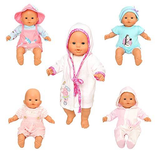 Miunana 5 Abiti Vestiti Tuta alla Moda per 36 CM - 46 CM (14 Pollici - 18 Pollici) Baby Dolls Bambola, American Girl Dolls, bebé Bambolotti Amore Mio E Altre Bambole 14 Pollici - 18 Pollici
