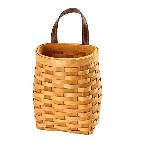 hanging wicker basket Hand-Woven Wood Storage Basket Portable Wall Hanging Flower Basket Organizer Fruit Vegetable Toys Rattan Box Home Decoration Height 6.1in