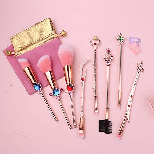 Classique Sailor Moon Maquillage Pinceaux Poignée En Métal Fondation Poudre Blush Smudge Shader Pinceau Multifonction Beauté Outil,rosegold