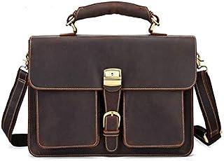 TOOGOO Retro Leather Men'S Large-Capacity Briefcase Head Laptop Bag Crazy Horse Skin 15Inch Computer Messenger Bag Brown