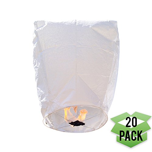 Just Artifacts 20 Eclipse White Chinese Flying Sky Lanterns - (Eclipse, Set of 20, White)