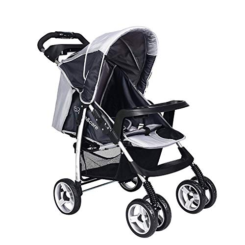 cheap4uk Baby Pram Pushchairs Buggy Stroller Set up to 15 kg, Four Wheel Foldable Adjustable Jogger Travel System with Mattress and Universal Rain Cover (Grey)