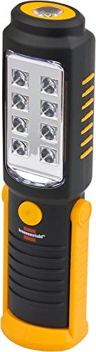 Brennenstuhl LED Taschenlampe mit Batterie / SMD LED Handleuchte mit 250+100lm (Werkstattlampe mit max. 10h Leuchtdauer, drehbarer Haken und Magnet)