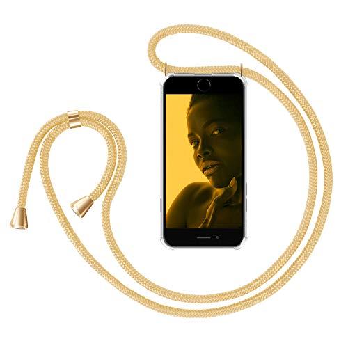 ZhinkArts Handykette kompatibel mit Apple iPhone 6 / 6S - Smartphone Necklace Hülle mit Band - Handyhülle Case mit Kette zum umhängen in Gold