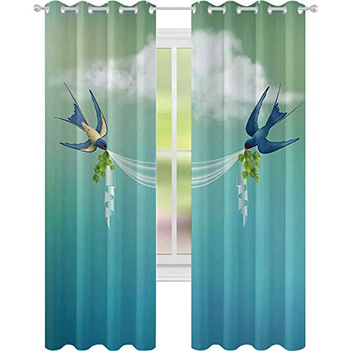 Cortinas opacas – aislamiento de juntas, marco temático para bodas, diseño de gorriones, pájaros, nubes, cortinas degradadas, 52 x 72 para sala de estar, color azul pizarra, verde pálido y blanco